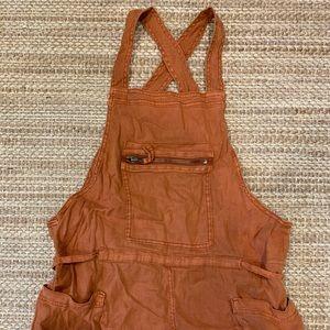 Free People linen orange short overalls small